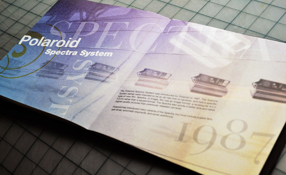Layout design for the Polaroid Spectra System manual by Airstrike Quintet