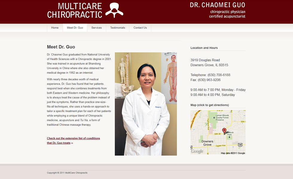 Website design and development for Multicare Chiropractic by Airstrike Quintet