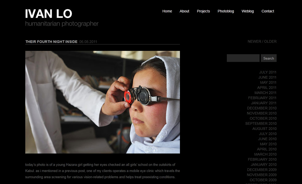 Website design and development for Ivan Lo, Humanitarian Photographer by Airstrike Quintet